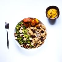 Couscous d'épeautre, tofu & potimarron