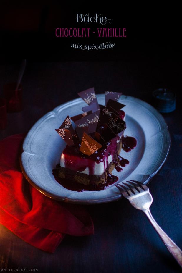 Bûche de Noël chocolat-vanille aux spéculoos {végane} - Antigone21.com
